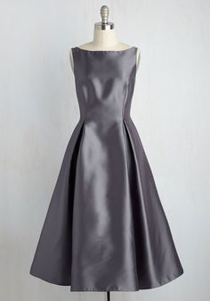 Careful What You Lavish For Midi Dress in Steel by Adrianna Papell - Woven, Long, Grey, Solid, Special Occasion, Prom, Wedding, Bridesmaid, Homecoming, Vintage Inspired, 40s, 50s, Fit & Flare, Sleeveless, Boat, Fall, Winter, Luxe Gifts