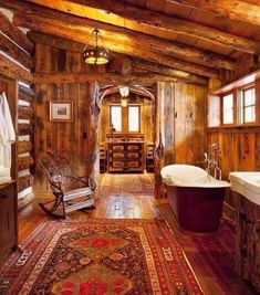 Rustic bathroom in this log home.I want the tub! Rustic Bathroom Designs, Rustic Bathrooms, Master Bathrooms, Wood Bathroom, Log Cabin Bathrooms, Modern Log Cabins, Log Cabin Living, Rustic Room, Rustic Decor