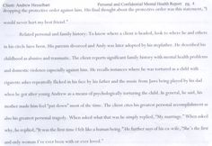 """Throughout the convoluted nightmare mess of 3 courts,false accusations,2 bad male atty & public """"pretenders""""there was a preconceived idea my 3rd & best advocate found behind the scenes keeping me from fair or unbiased character assassination & what we know now as cover-ups where Karen's mental illness was played against me most likely as her mother told her """"hate Andy"""" & cousin Jen said """"here's how you do Satan's work""""destroying Andy as a minority scared & innocent as I am. My phych eval…"""