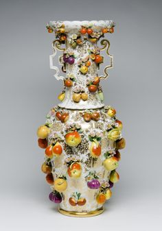 Late 19th C. French Vase / Hard-paste porcelain with enamel and gilt decoration