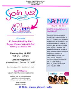 Get great health information at the 1st Annual Healthy Start Bayou Women's Health Fest on Thursday May 14!