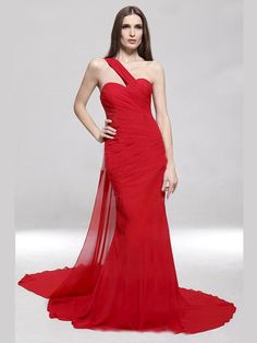 8f0ef451cac Graceful Sheath One Shoulder Red Chiffon Evening Gowns With Ruffles   DesignerDress  CheapDress  MaxiDresses