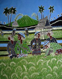 www.indonesian-batik.com Indonesian Language, Batik Art, Watercolor Sketch, Farm Animals, Folk Art, Asian Style, Sketching, Ethnic, Preschool