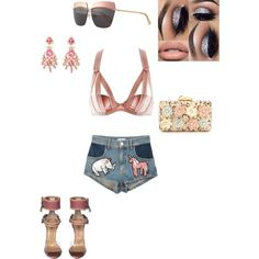 #pink by atlienfashioned on Polyvore featuring polyvore, fashion, style, Chantal Thomass, KOTUR, Valentino and Christian Dior