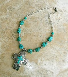 Black Widow Turquoise Silver Southwestern Chunky Necklace W/ Turquoise Cross #HANDMADE #Pendant