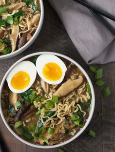This easy vegetarian (with a vegan option) miso mushroom ramen is made with only 10 supermarket-friendly ingredients!