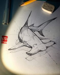 Hammerhead shark Create a WHUFC T Shirt from this idea and produce a screen print . Pencil Art Drawings, Art Drawings Sketches, Tattoo Sketches, Cool Drawings, Tattoo Drawings, Drawings Of Sharks, Animal Sketches, Animal Drawings, Hai Tattoos