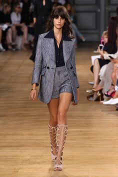 Chloé Spring-Summer 2015 #SS15 #PFW | Cotton Voile Shirt, Cotton Tweed Short, Cotton Tweed Jacket, Foster 5cm Wedge Strappy Boot in Suede Kidskin, Carly Brass Bracelet with Ring