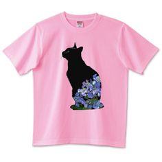 黒猫あじさい 6.2オンスTシャツ(United Athle)