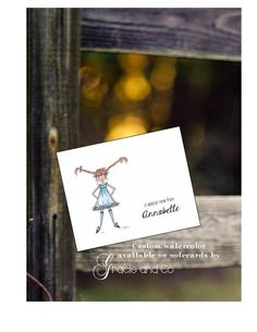 Custom personalized girl notecard friendship by gracieandco, $17.50