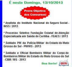 Convocação Provas do dia 13/10/2013.