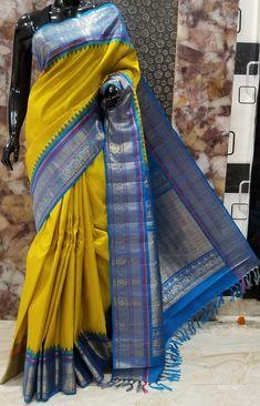 Gadwal Sarees Silk, Silk Sarees Online Shopping, Sari Design, Blue Saree, Soft Silk Sarees, Saree Collection, Saree Wedding, Color Combinations, Blouse Designs
