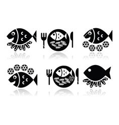 Fish and chips icons set vector 2438360 - by RedKoala on VectorStock®