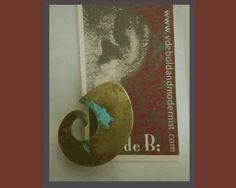 Very Early Robert Lee Morris Verdigris Brass Earrings-ArtWear Era,1970s-early '80s