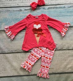 Precious little boutique style dress top and pants set, perfect for Valentine's Day! Includes matching Hair Bow. Sizes from 2T up to 7 Yrs. Please note size preference at check out. Ships in about 1 week. Thankyou <3