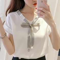 2019 Womens Tops And Blouses mujer de moda Chiffon Cool Ladies Korean Style Chemisier Femme Fashion Clothing Summer Female Bow Kurti Neck Designs, Dress Neck Designs, Blouse Designs, Korean Fashion Trends, Korean Street Fashion, Mode Outfits, Stylish Outfits, Super Moda, Summer Outfits Women