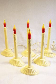 6 vintage christmas electric candles window candle holiday