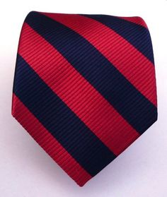 100% Silk Woven Navy and Red Striped Tie: Clothing
