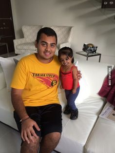 The shortest woman in the world: Jyoti Amge is 24 inches tall and 21 years old.