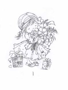 Dawn with flowers clear stamp