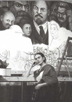 Frida in front of an unfinished 'Workers of the World United panel in 1933. Never seen this photo before:))))
