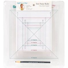 Quilt In A Day Sew Fussy Ruler W/China Marker-2-1/2 inch To 9-1/2 inch, Multicolor