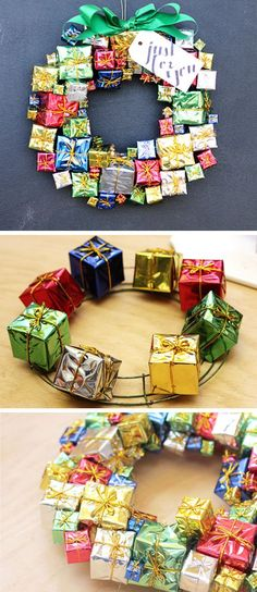 DIY Gift Box Christmas Wreath | DIY Christmas Wreaths for Front Door | Easy Christmas Decorating Ideas 2014