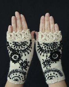 MADE TO ORDER in 4-6 weeks, Knitted Fingerless Gloves, Ornament, Ivory, Black, Gloves & Mittens, Gift Ideas, For Her, Winter Accessories,