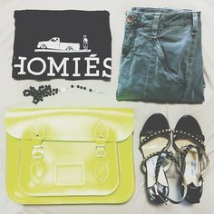 HOMIES tank /  J BRAND cargo / JIMMY CHOO sandals / CAMBRIDGE SATCHEL bag