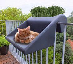 balKonzept Balkontisch + Balkonkasten / balcony table by Designerfinder Michael Hilgers: balkonzept als katzenliege / cat bed