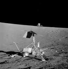 """""""This photo from the mission shows just how impressive precision landing was. Taken just in front of the Surveyor 3 spacecraft, you can see the Apollo 12 lunar module in the near distance. Moon Missions, Apollo Missions, Apollo 16, Back To The Moon, Apollo Space Program, Astronomy Pictures, Space And Astronomy, Nasa Space, Air And Space Museum"""