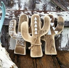Handcrafted wooden cactus sign / decor. Aztec / Mexican