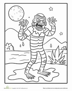 1000 images about halloween worksheets on pinterest for Creature from the black lagoon coloring pages