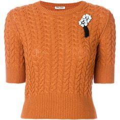 Miu Miu short-sleeve brooch jumper ($1,200) ❤ liked on Polyvore featuring tops, sweaters, shirts, miu miu top, orange jumper, short sleeve tops, orange sweaters and orange top
