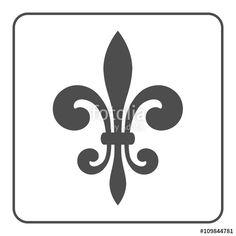 Vector: Fleur de Lis symbol. Fleur-de-Lis sign. Royal french lily. Heraldic icon for design, logo or decoration. Elegant flower outline design. Gray element isolated on white background. Vector illustration