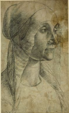 Elderly Woman, Domenico Ghirlandaio Italian Renaissance Drawing - Look at the construction of the hairstyle Michelangelo, Renaissance Kunst, High Renaissance, Drawing Sketches, Art Drawings, Arte Yin Yang, Web Gallery, Gravure, Great Artists