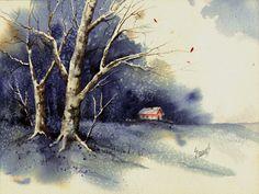 Winter tree painting by sam sidders Watercolor Projects, Watercolor Trees, Watercolor Landscape, Watercolor Paintings, Winter Trees, Winter Art, Thing 1, Tree Art, Art Prints
