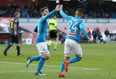 Lorenzo Insigne and Dries Mertens of SSC Napoli celebrate the 2-2 goal scored by Lorenzo Insigne during the Serie A match between SSC Napoli and UC Sampdoria at Stadio San Paolo on December 23, 2017 in Naples, Italy.