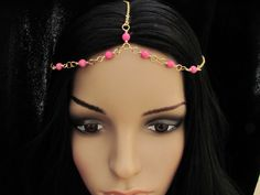 Head Chain Pink Turquoise Headchain Headpiece by MariaWhiteDesigns, $18.00