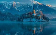 Religious Assumption Of Mary Church  Reflection Sunrise Bled Lake Julian Alps Slovenia Church Wallpaper