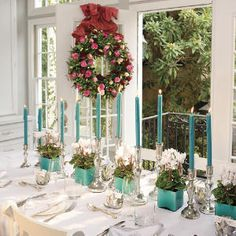 Sensational Flowers - Southern Living - taper candles #christmas tablescape