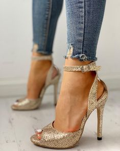 Shop Glitter Peep Toe Thin Heeled Sandals right now, get great deals at Joyshoetique. Lace Up Heels, Ankle Strap Heels, Ankle Straps, Pumps Heels, Stiletto Heels, High Heels, Heeled Sandals, Peep Toe Heels, Shoes Sandals