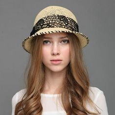 Fashion bow bowler straw hat for women UV summer hats hand made