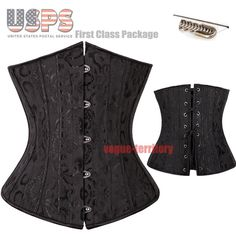 fa34201e32 26 Spiral Steel Bone Floral Print Waist Training Cincher Underbust Corset  Waspie  Unbranded  LaceUp