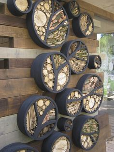 insect hotel wall installation - RBC Blue Water Roof Garden by Professor Nigel Dunnett