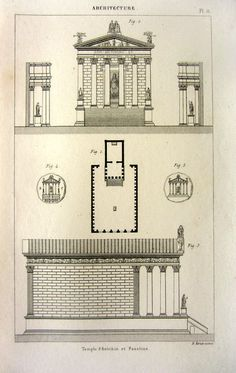 1852 antique architecture print of Temple of by LyraNebulaPrints