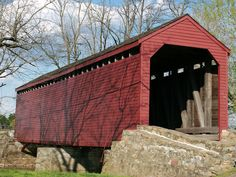 Picture - The red Loy's Station Covered Bridge in Frederick, Maryland. | PlanetWare
