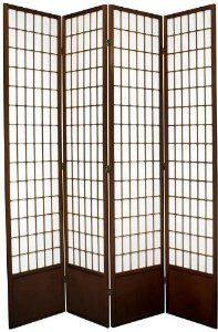 """Oriental Furniture Bigger Larger Taller Wider, 7-Feet Window Pane Japanese Shoji Screen Room Divider, 4 Panel Walnut by ORIENTAL FURNITURE. $313.00. Browse our huge selection of japanese, chinese, asian décor, room dividers, art, lamps and gifts. 83.5"""" by 17.5"""" panels, 6 colors in 4 sizes, two way hinges. Fine kiln dried scandinavian spruce, sturdy japanese joinery, solid bottom kick plate. Fiber reinforced shade diffuses light, classic shoji lattice design on front..."""