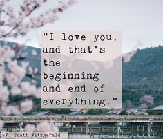 """""""I love you, and that's the beginning and end of everything."""" — F. Scott Fitzgerald"""
