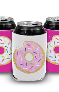 Donut you know how easy it is to keep your drinks cold with these super cute can coolers? These donut drink accessories are a must-have at any summer parties! Warm drinks are a total party foul. #summerparty #summerparties #donutparty #summerpartyideas